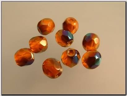 Glaskraal oranje facet met AB, 5x4 mm