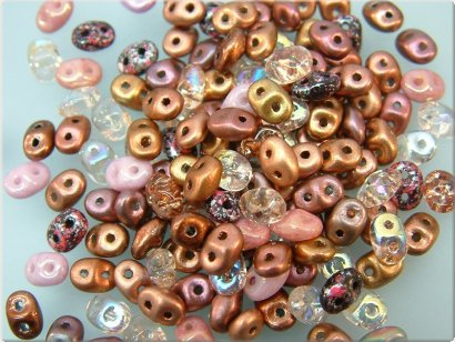 Glaskraal SuperDuo 2,5x5 mm (two hole) 10 gr. Mix Pink-Salmon
