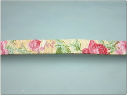 Trendy plat koord beige flowers, 10x2 mm (50 cm)